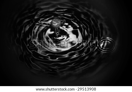 dripping dark liquid, isolated - stock photo