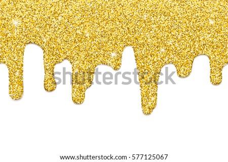 dripping gold glitter seamless border repeatable stock illustration