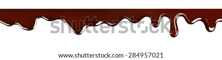Dripping melted chocolate, isolated on white - stock photo