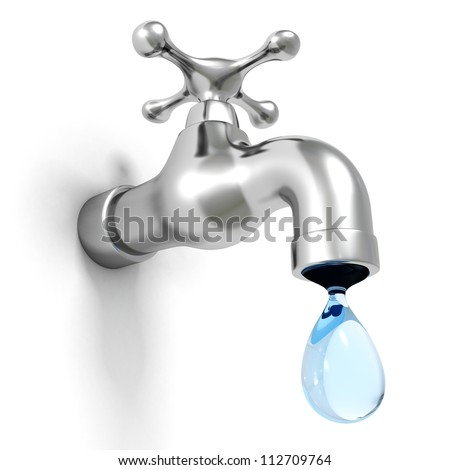 Dripping Tap Drop On White Background Stock Illustration 112709764 ...
