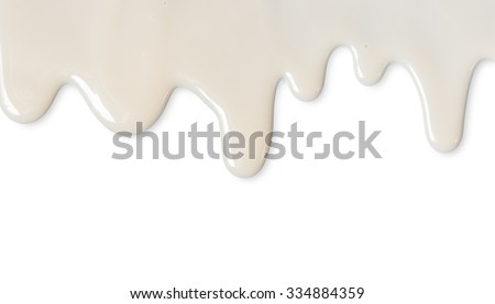 Dripping white milk, cream, paint yogurt on white background