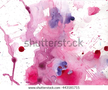 drips of watercolor paint in blue pink and purple, brush stroke splatter and color splashes with bleed and fringing in pretty pattern, hand painted art illustration - stock photo