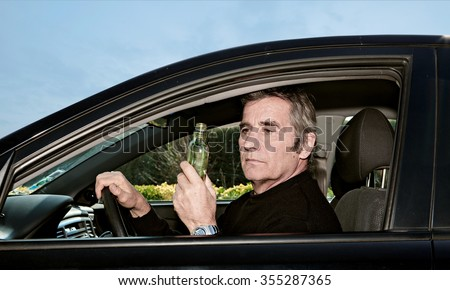 drive and drink - stock photo