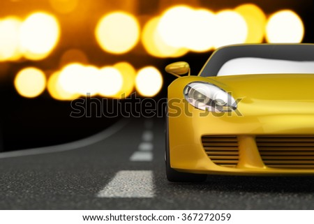 Drive down the highway, modern fast speed yellow sport car moving along deserted road at night - stock photo