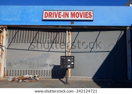 drive in movies sign                                - stock photo