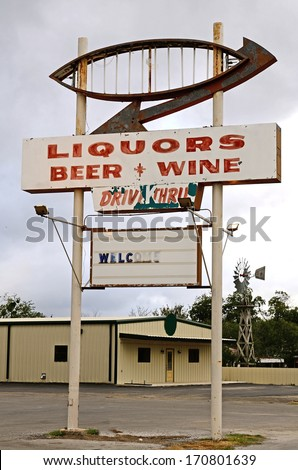 Drive Through, (Thru) Liquor store in rural Texas, United States - stock photo