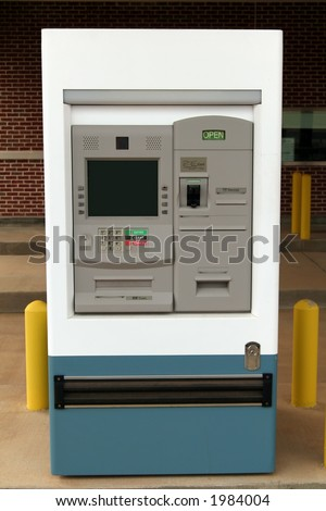Drive-thru ATM machine. The screen is blank so you can enter your own text or image - stock photo