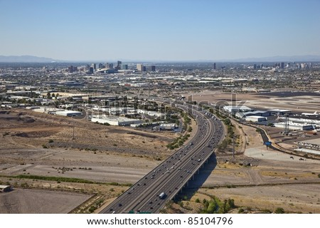 Drive time traffic on Interstate 10 - stock photo