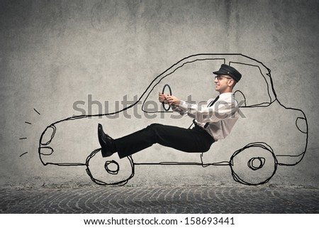 driver driving on the road with a designed car
