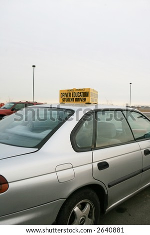 Driver education car with sign