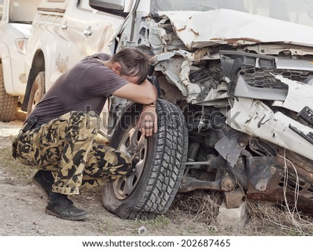 driver man and the broken car - stock photo