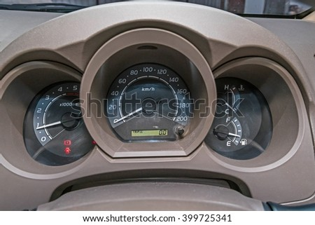 driver's cockpit ; speedometer on dashboard - stock photo