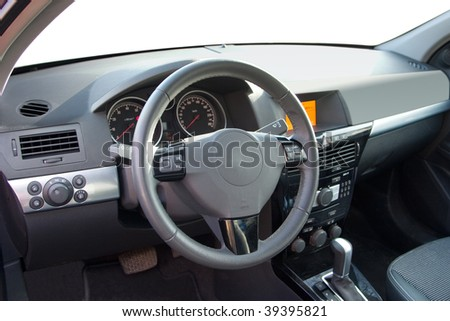 Driver's seat of the modern car - stock photo