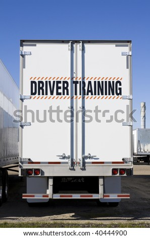 Driver training sign on back of truck - stock photo
