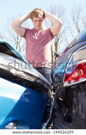 Driver Upset After Traffic Accident - stock photo