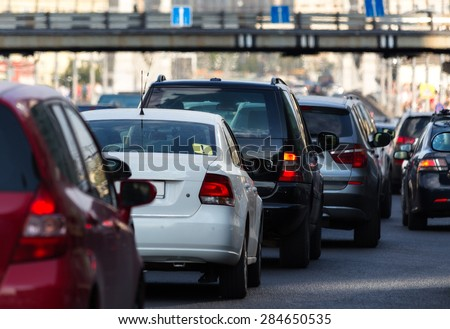 Driver view of the traffic jam in the city - stock photo