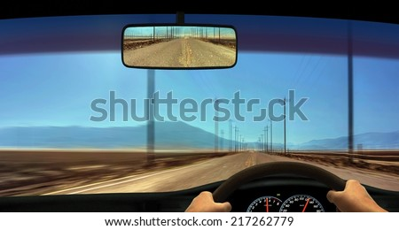 Driver Windscreen Point of View - stock photo