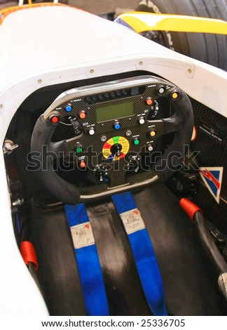 Drivers view of a racing car - stock photo