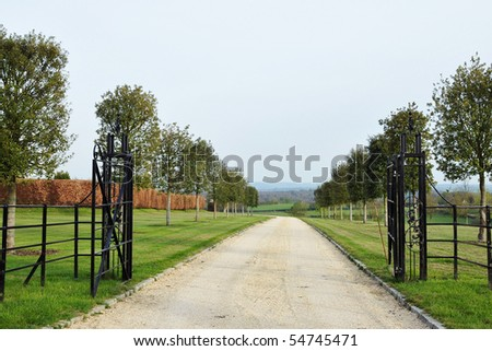 Driveway through a Country Estate - stock photo