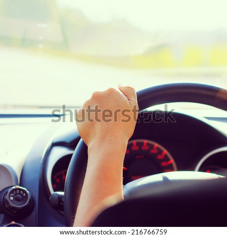 driving a car - instagram filter - stock photo
