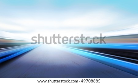 driving at high speed in empty road - motion blur