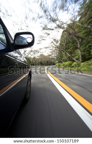 Driving at mountain road