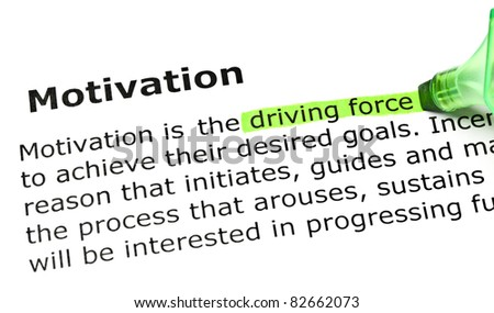 Driving force highlighted in green, under the heading Motivation. - stock photo