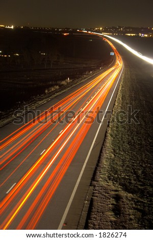 Driving home from work at night - stock photo