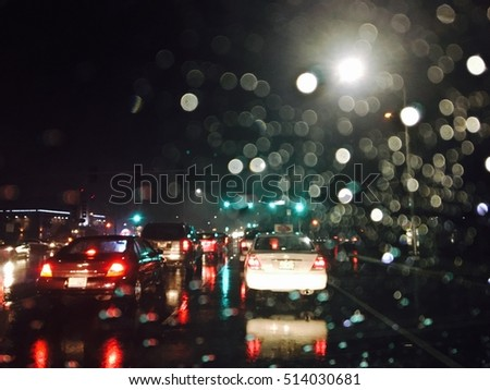 Driving in night rain