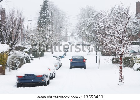 Driving in snow - stock photo