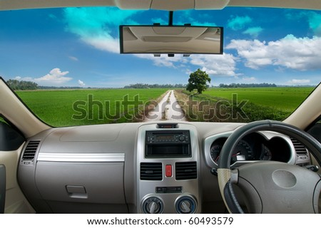 driving in the car, travel to country road - stock photo