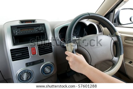 driving in the car with blank copy space on windshield - stock photo