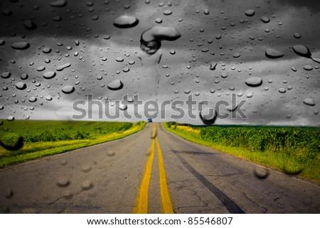 Driving in the rain - stock photo