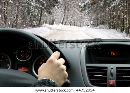 Driving in winter - stock photo