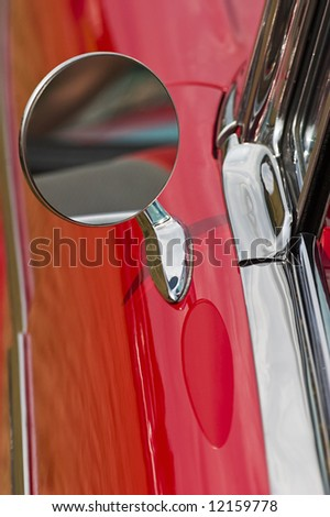 Driving mirror on a american car - stock photo