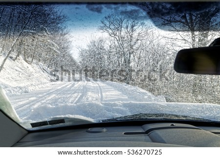 Driving on a Snow Covered Mountain Road in Pennsylvania, USA.