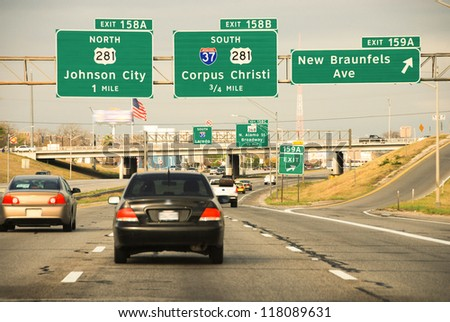 Driving on a Texas Interstate in Spring, U.S.A. - stock photo