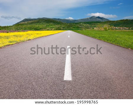 Driving on an empty asphalt road through the idyllic fields to mountain - stock photo