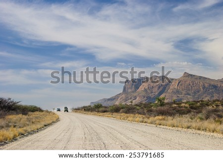 Driving on top of the World highway in Alaska - stock photo