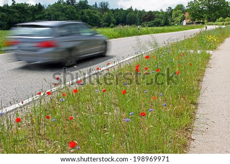 driving passenger car on country road, in motion unsharpness - stock photo