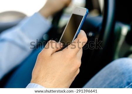 Driving, Text Messaging, Telephone. - stock photo