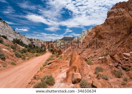 Driving the Cottonwood Canyon Road in Grand Staircase Escalante National Park, Utah - stock photo
