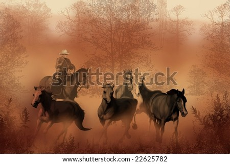 DRIVING THE HERD - A cowboy brings a herd of horses back to the ranch. - stock photo