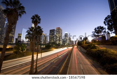 Driving through Los Angeles, California - stock photo