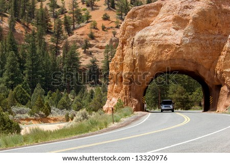 Driving through Red Canyon, Utah, USA