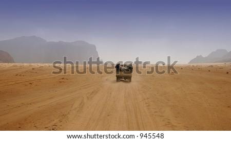 Driving through the desert, Jordan - stock photo