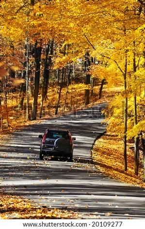 driving through the mountain - stock photo