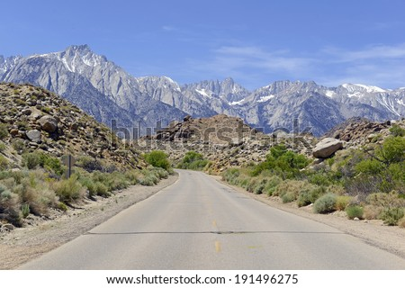 Driving to Mount Whitney and the Sierra Nevada Mountains, California, USA - stock photo