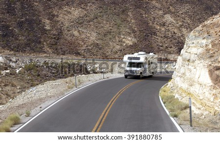 DRIVING TO THE DEATH VALLEY ON HWY 190, March 3, 2016: Camper truck is driving to the Death Valley Superbloom