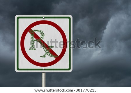 Driving Under the Influence of  Marijuana, A road highway sign with a prescription sign of marijuana leaf with stormy sky background
